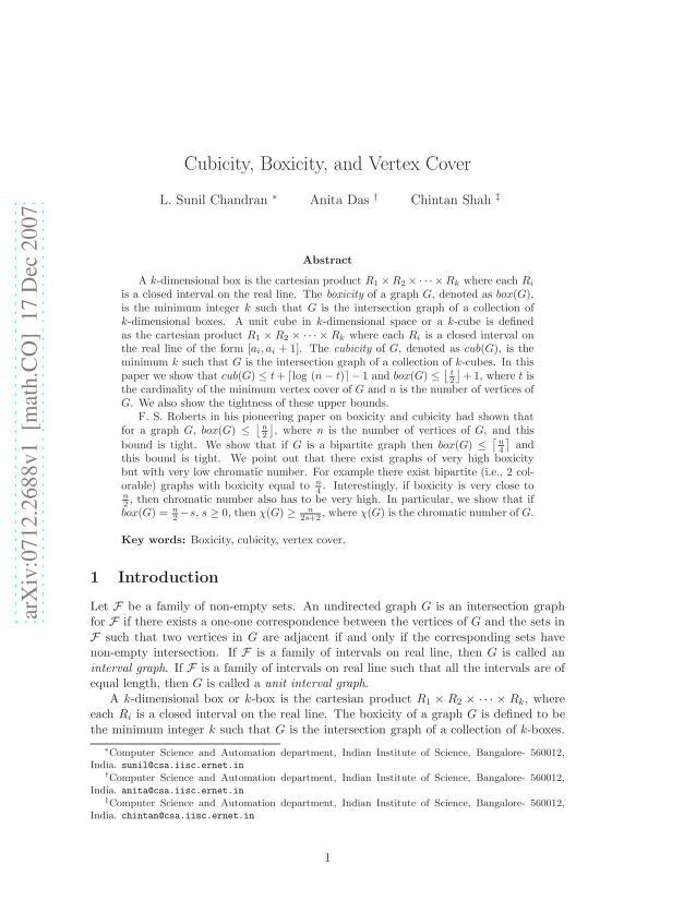 L. Sunil Chandran - Cubicity, Boxicity and Vertex Cover