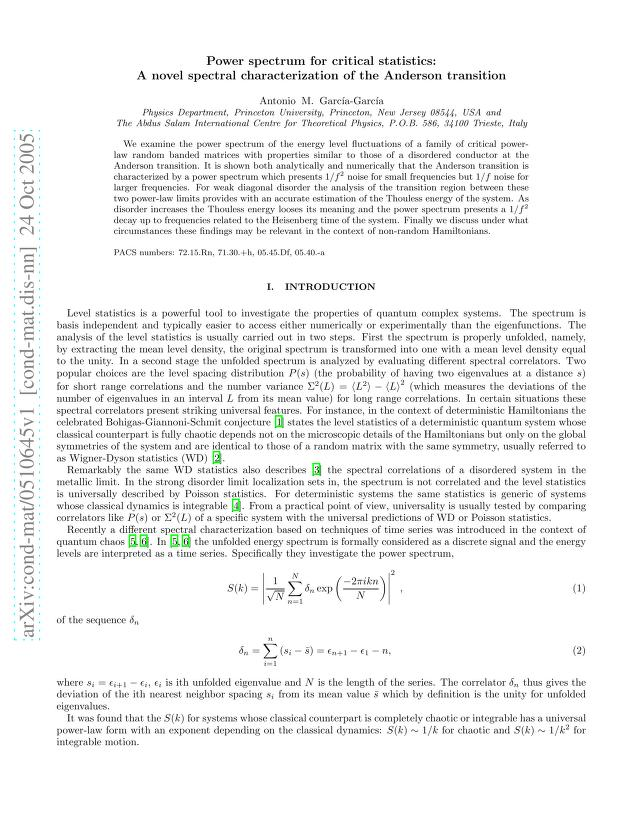 Antonio M. Garcia-Garcia - Power spectrum for critical statistics: A novel spectral characterization of the Anderson transition