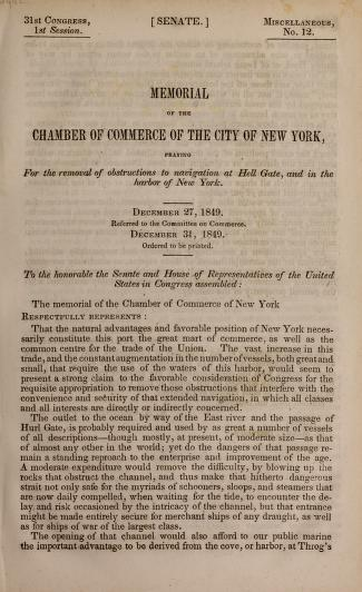 Memorial of the Chamber of Commerce of the City of New York, praying for the removal of obstructions to navigation at Hell Gate, and in the harbor of New York by New York Chamber of Commerce